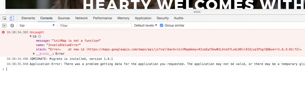 WEB Console error - Kenzap WordPress theme troubleshooting.