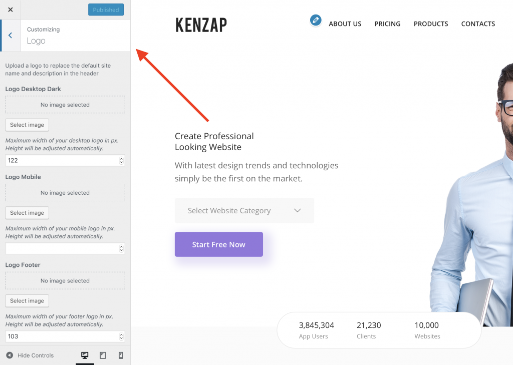 Kenzap WordPress theme change logo, adjust size.