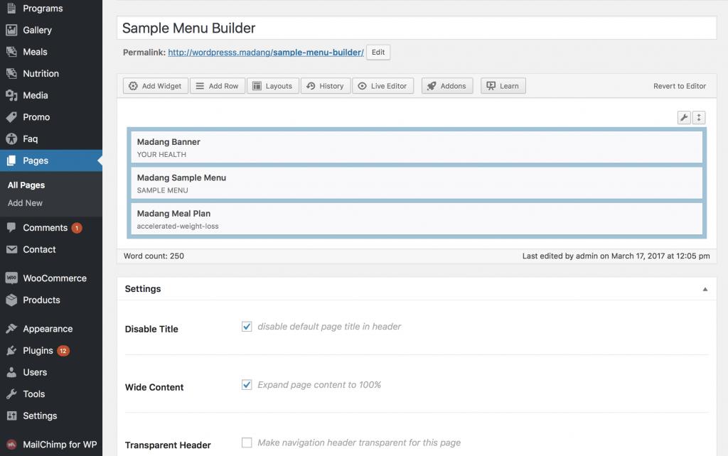 Meal plan package WordPress publishing
