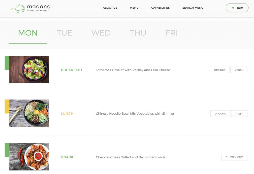 Meal plan package representation in WordPress.