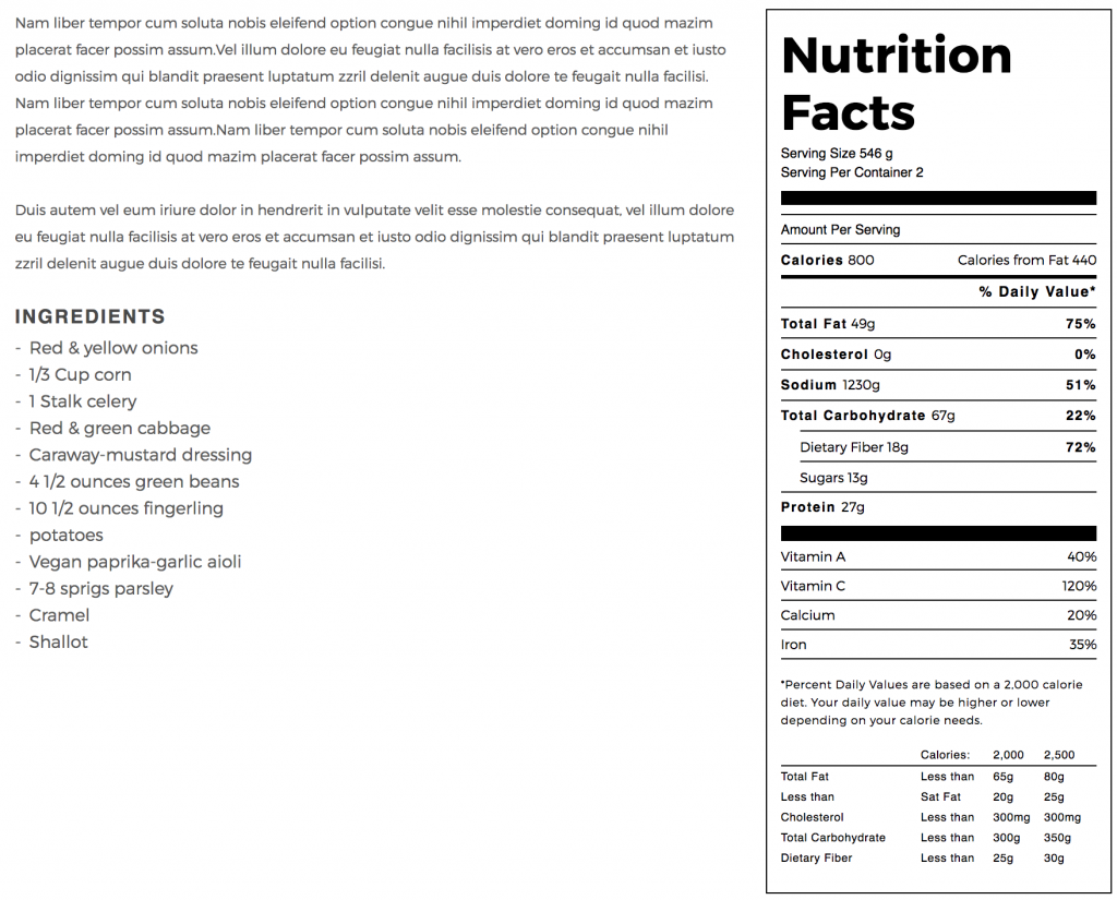 Madang WordPress theme - nutrition facts table.