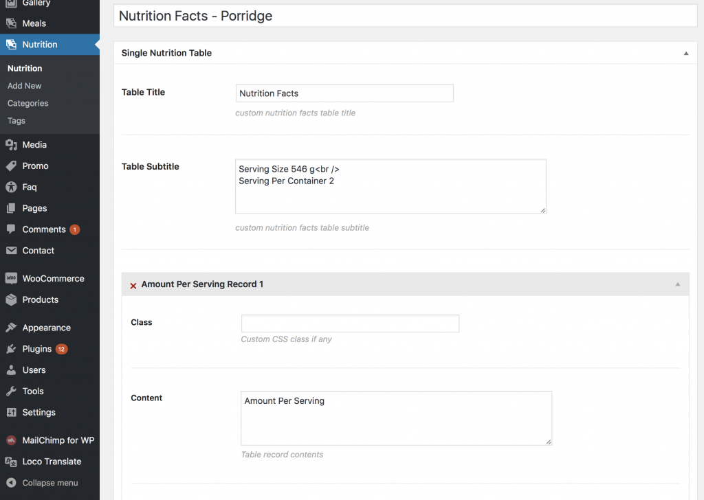 Defining structure on nutrition facts tables in WordPress.