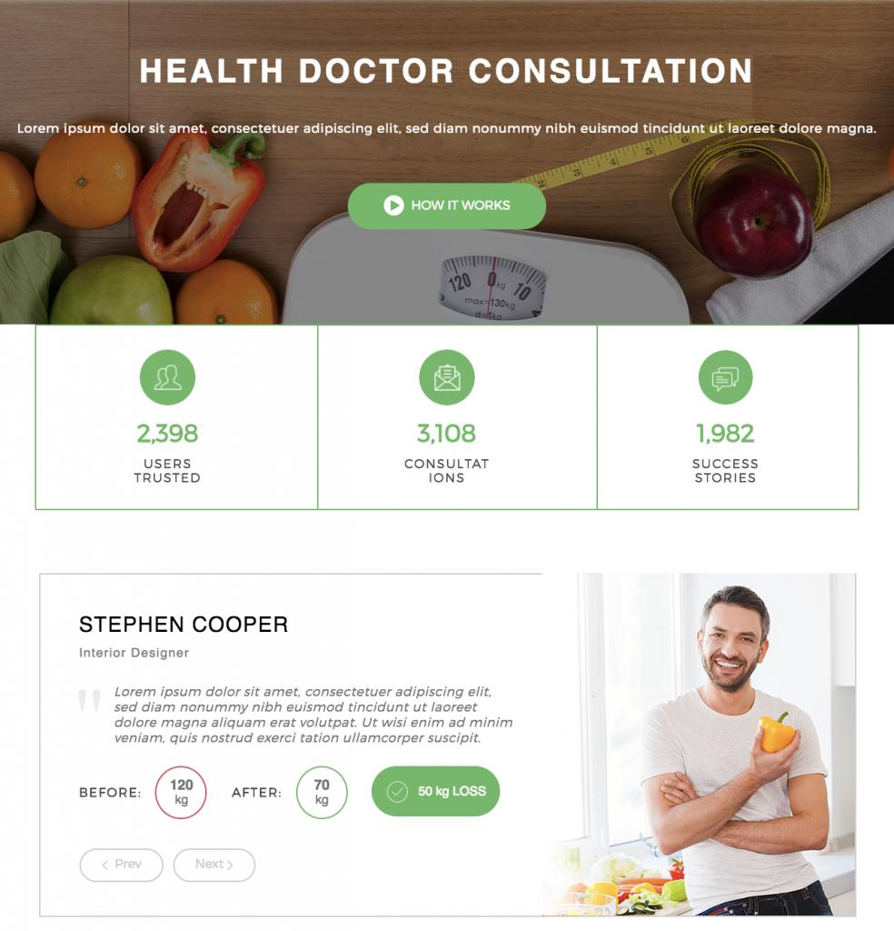 Health doctor consultation screenshot. Madang WordPress theme.