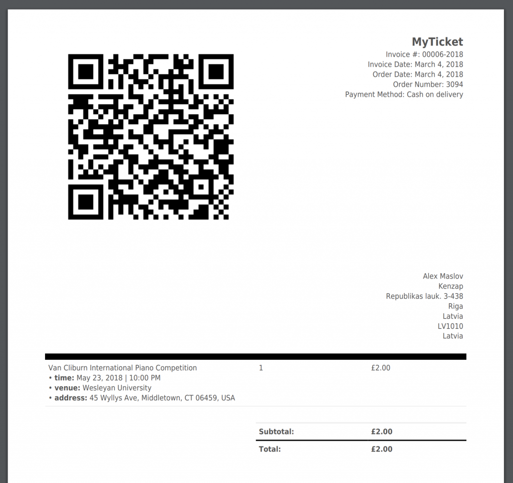 MyTicket theme - ticket invoice printout with QR-code