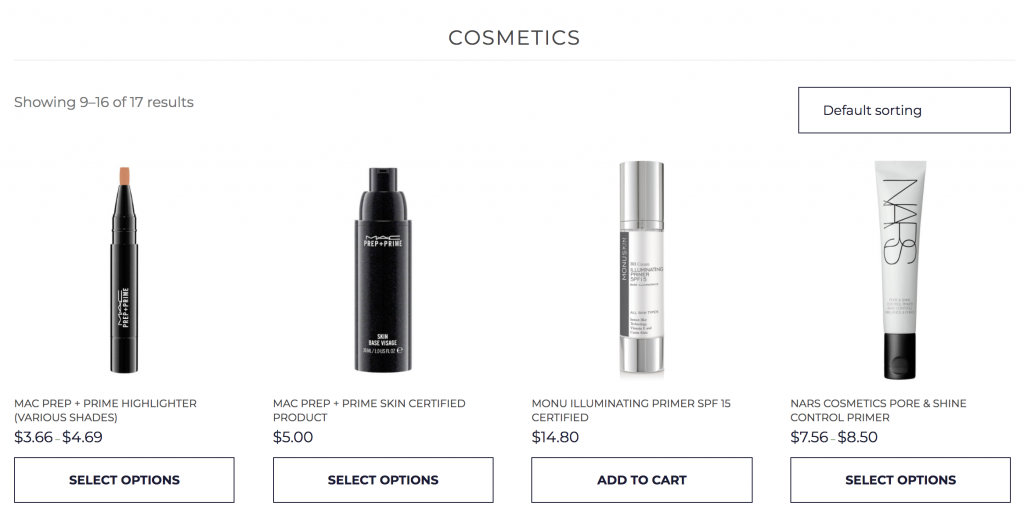 Mina theme - makeup cosmetics e-commerce product listing