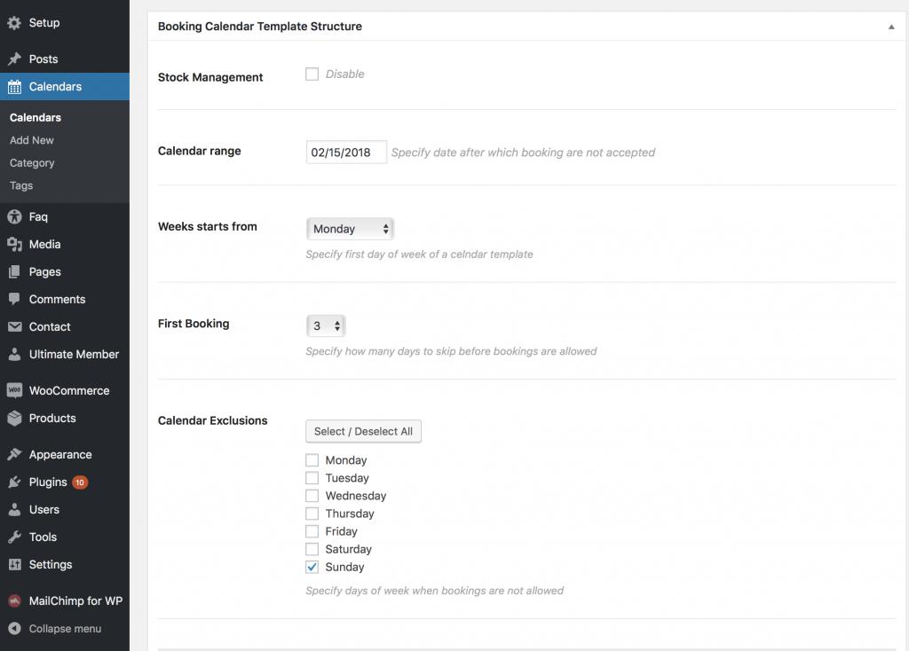 Mina theme - custom booking calendar structure definition.