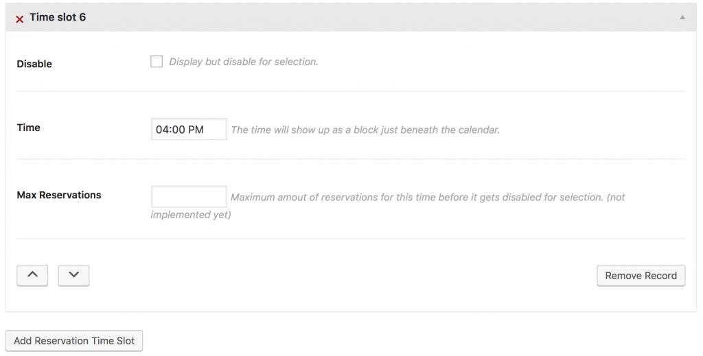 Mina theme - calendar time slots set up.