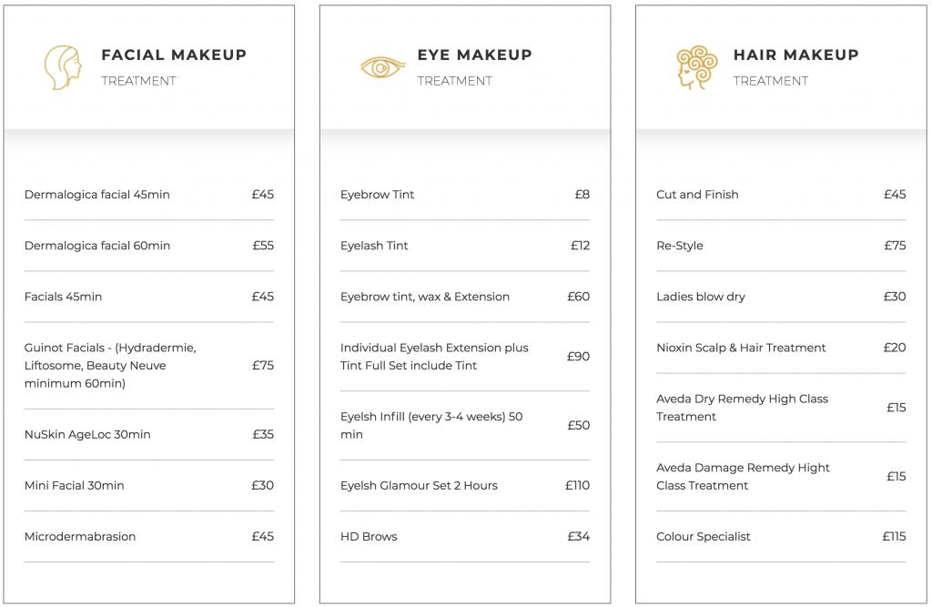 Mina theme - pricing lists table.
