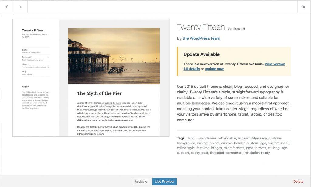 Twenty Fifteen WordPress theme automatic upgrade window preview