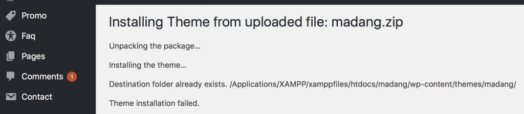 Manual WordPress theme update/upgrade failure