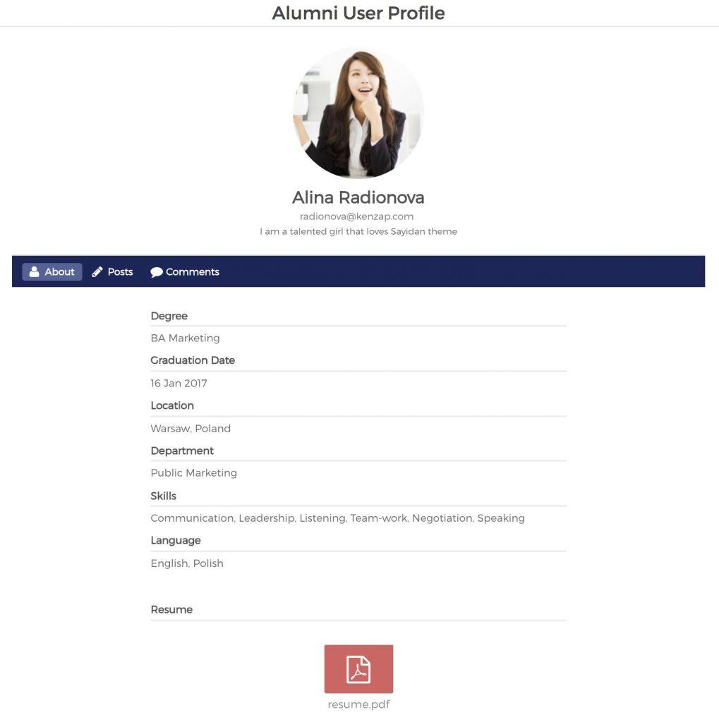 Sayidan theme - alumni user profile structure