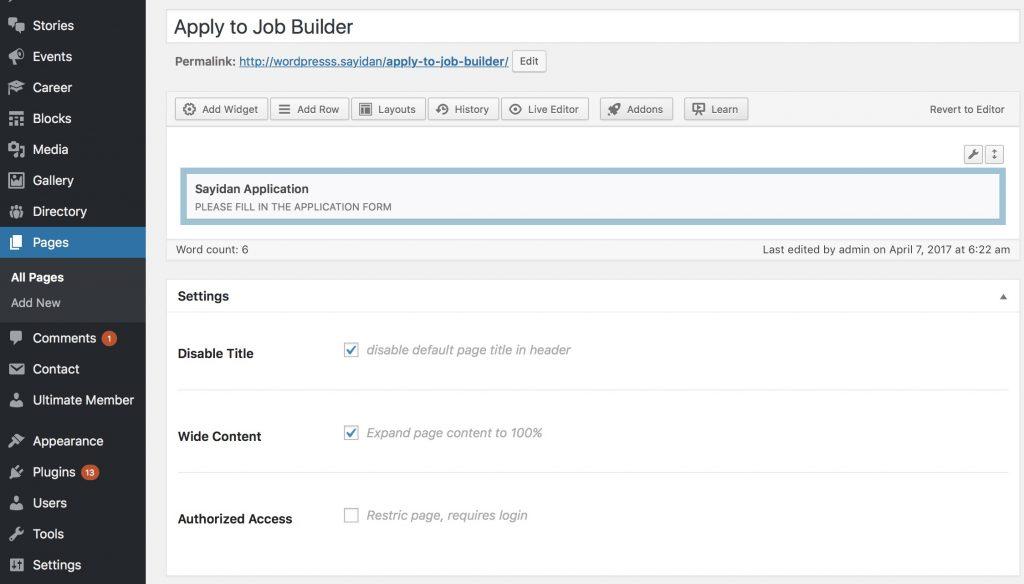 Sayidan theme - job offer application form.