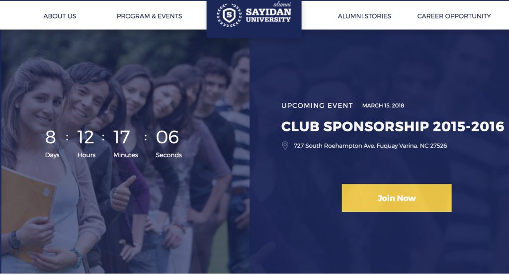 Sayidan theme - screenshot of promoted event with countdown timer.