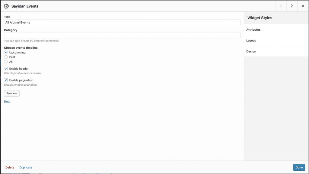 Sayidan theme - configuring events widget.