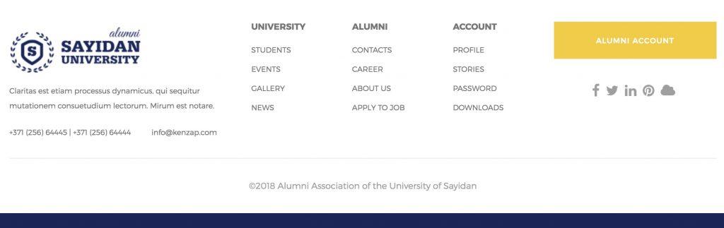 Sayidan theme - footer section screenshot.