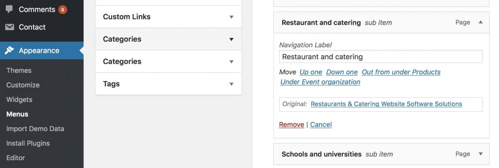 WordPress navigation menu item removal.