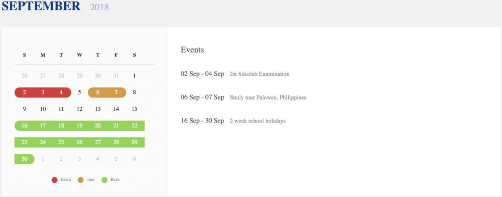 Sekolah theme - academic calendar preview