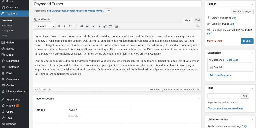 Sekolah - setting up teacher records from WordPress admin.