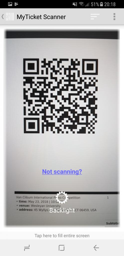MyTicket mobile app screenshot. QR-code ticket validation.