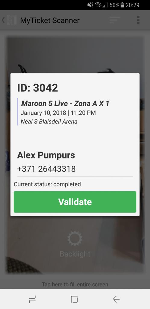 MyTicket mobile app screenshot. QR-code ticket validation details popup.