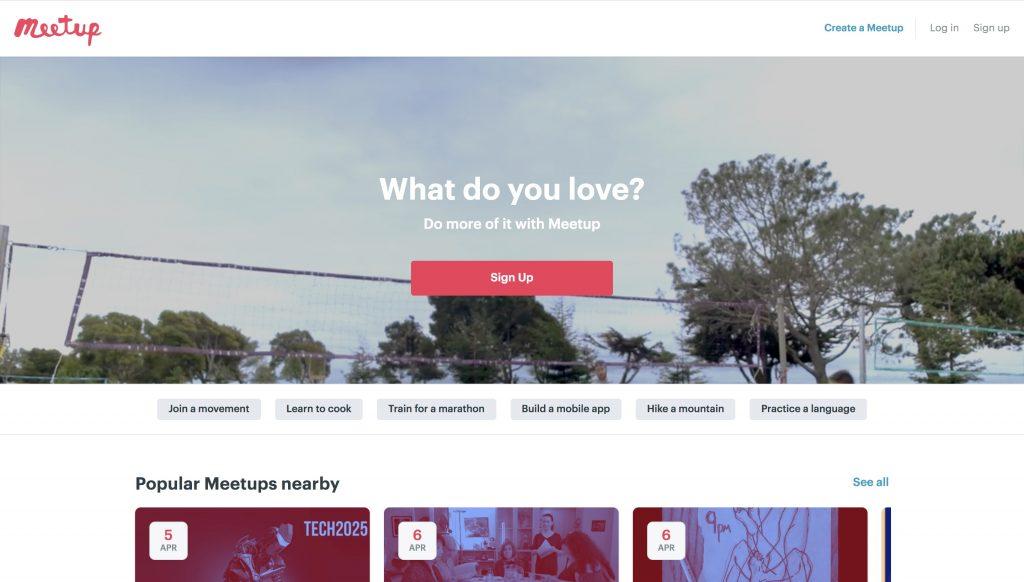 Meetup homepage screenshot