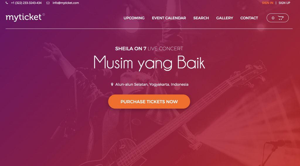 MyTicket WordPress website template homepage screenshot