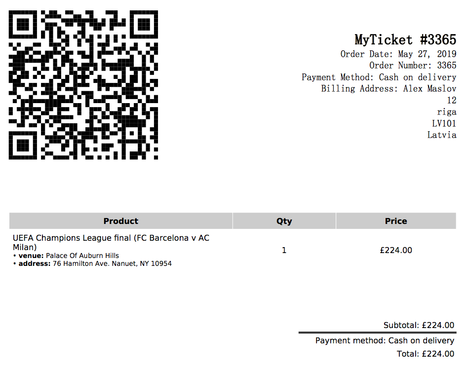 QR-code printout with event time and venue