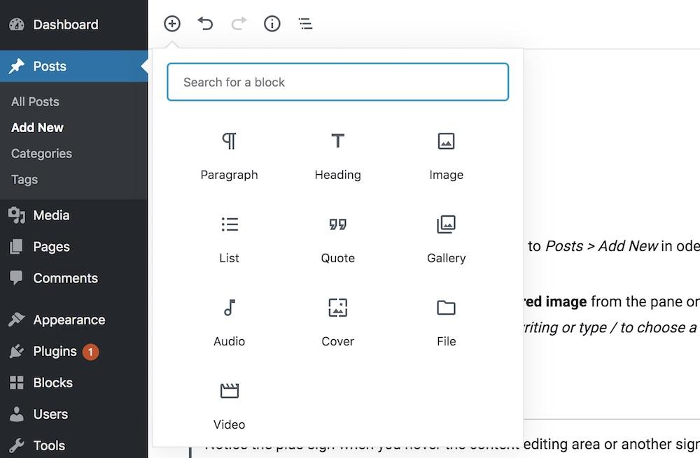 Gutenberg blog post formatting elements/blocks