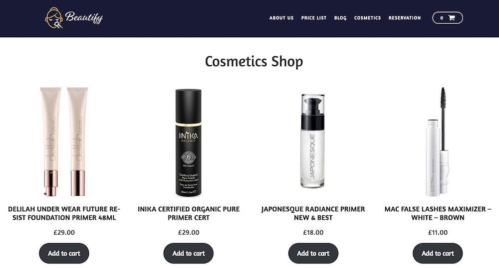 Beauty WordPress template - Website for Selling Cosmetics online.