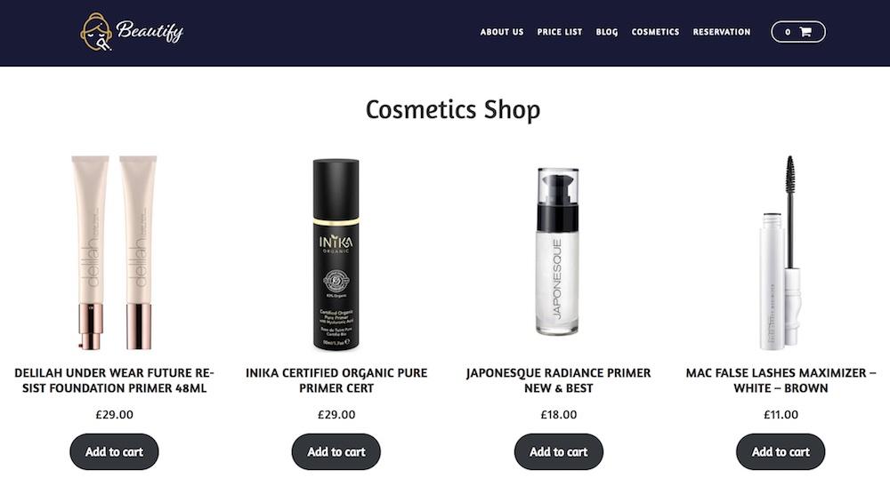 Beauty WordPress template - Website for Selling Cosmetics online.