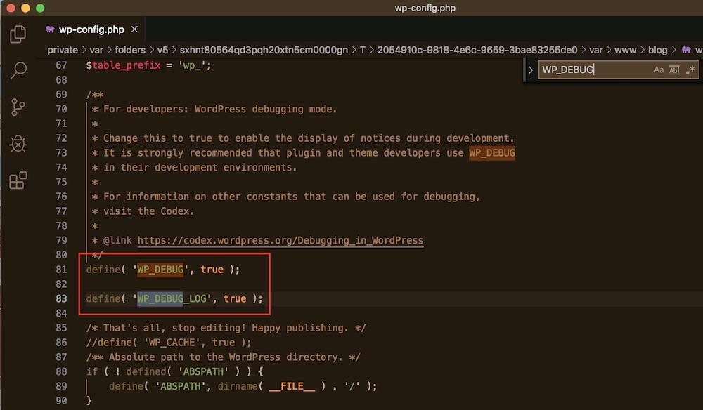 Enabling debug.log file under WordPress configuration file (wp-config.php)