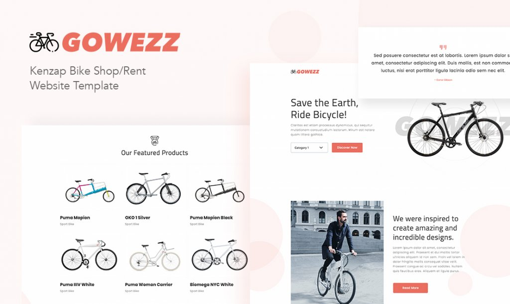 Gowezz Kenzap bicycle shop WordPress theme
