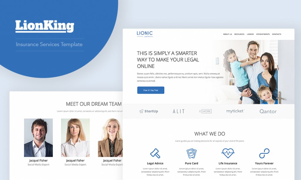 Insurance company website template - LionKing