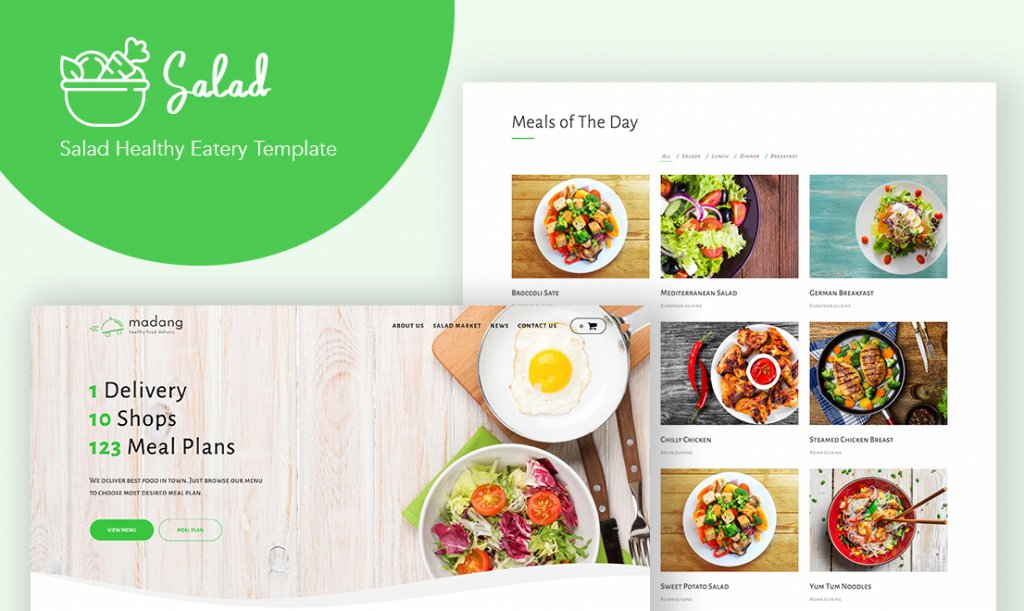 Salad - WordPress theme for meal planning and catering.
