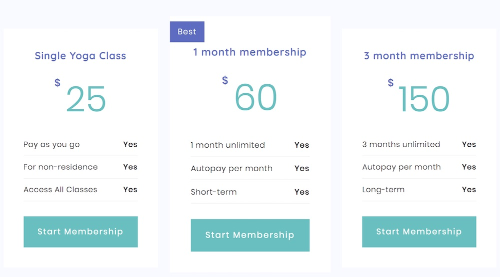 Pricing tables membership for yoga classes