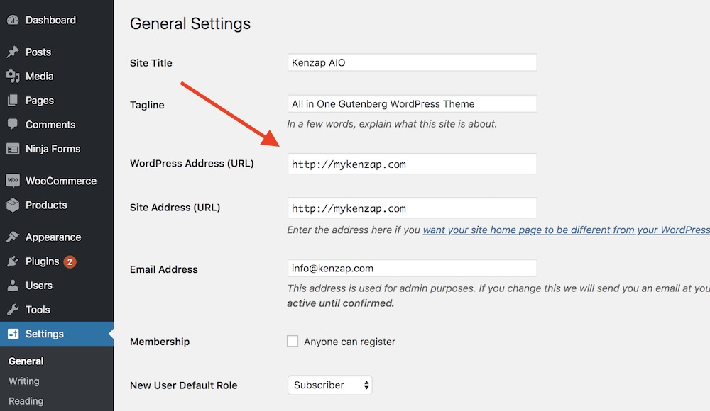 Updating WordPress and site addresses from dashboard