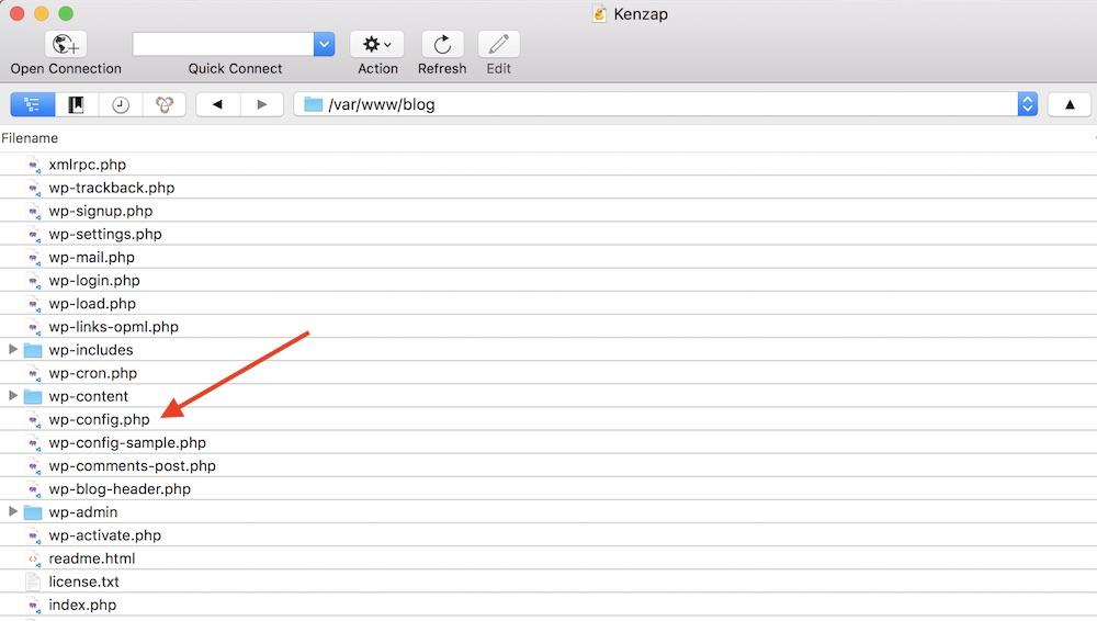 Listing WordPress root installation folder using SFTP Cyberduck Client.