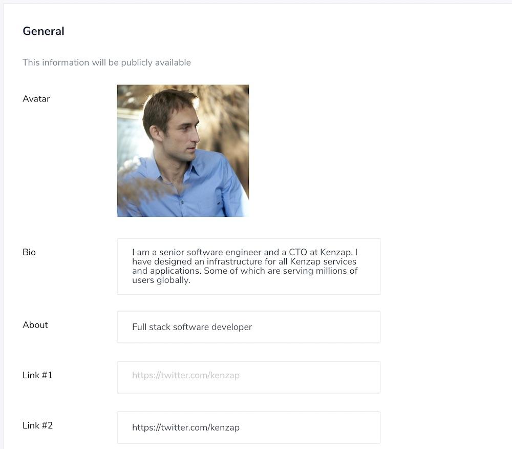 Kenzap.com dashboard screenshot - filling in profile information.