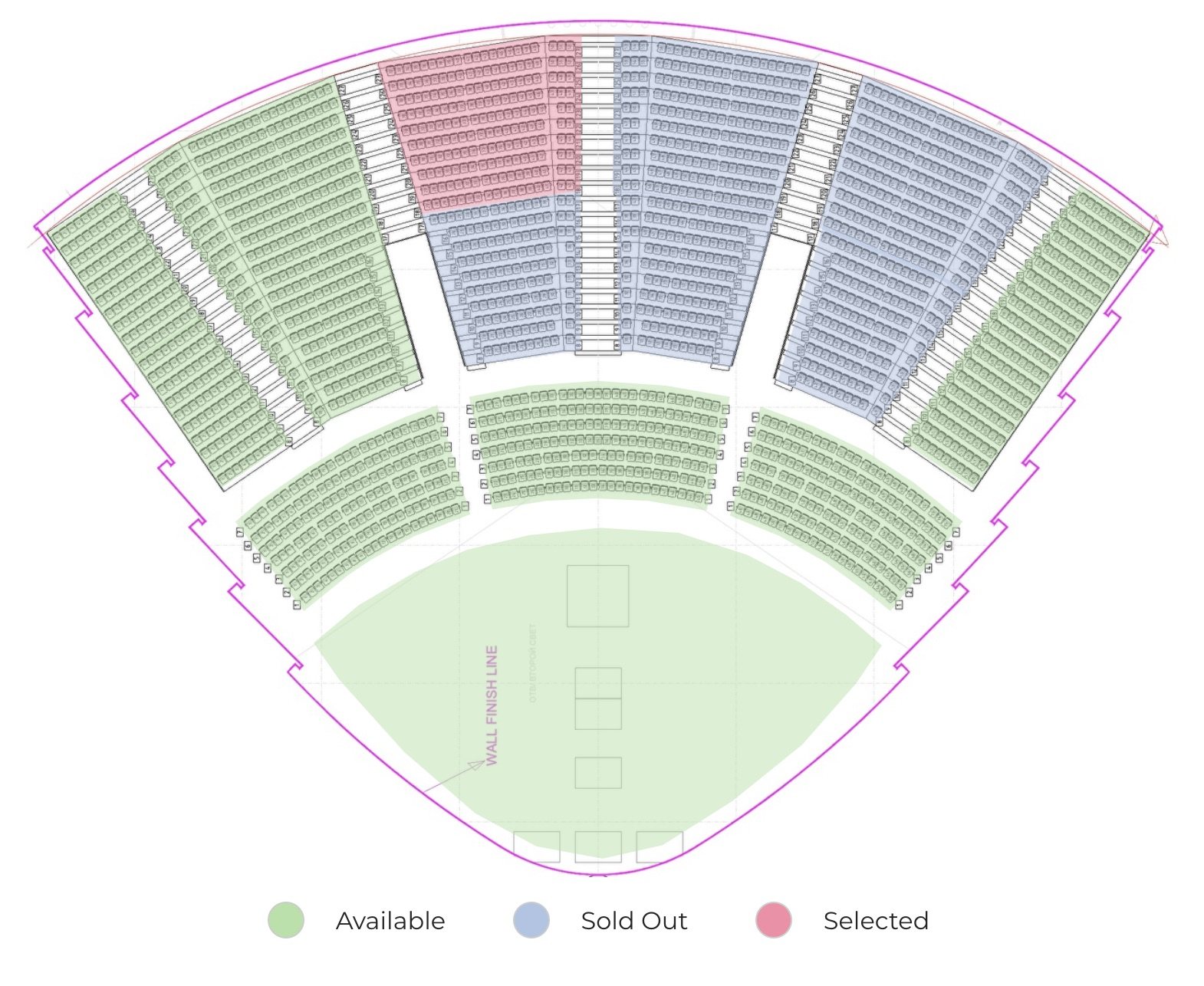 Interactive MyTicket Concert Hall design example with seating chart selection