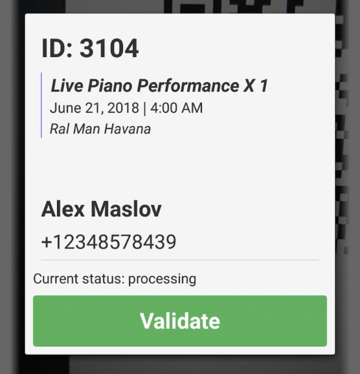 App screenshot example after scanning QR-code