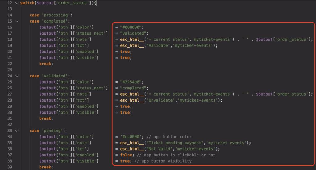 Overriding default statuses for ticket validation of myticket events plugin
